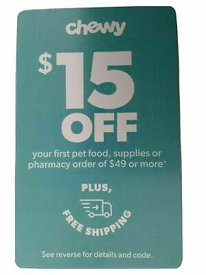 Chewy.com Coupon -$15 Off 1St Pet Food, Supplies, Pharmacy $49 Or More -Ex. 8/31