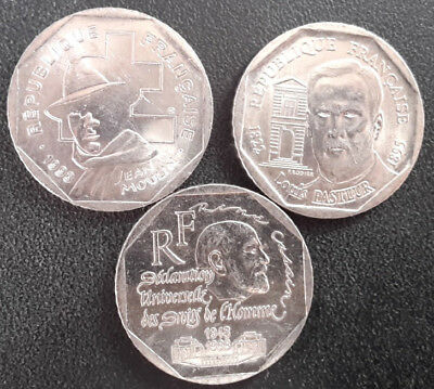 France - the Fifth Republic - Set Of x3 2 Francs Commemorative 1993 To 1998