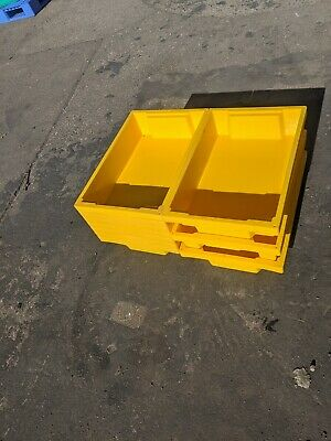 10 x Bright Yellow Plastic Nestable Stacking  Storage Trays Boxes 60 x 40 x 13cm