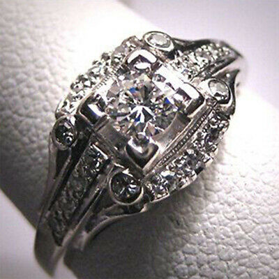 White Topaz Women Man Jewelry 925 Silver Ring Wedding Party Engagement Size 7