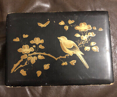 Vintage Pretty Japanese Box - Black And Gold Lacquer Ware Wooden Lacquered Wood
