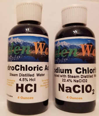 Water Purification & Disinfectant With Chlorine Dioxide NaCl + HCl 4oz of each