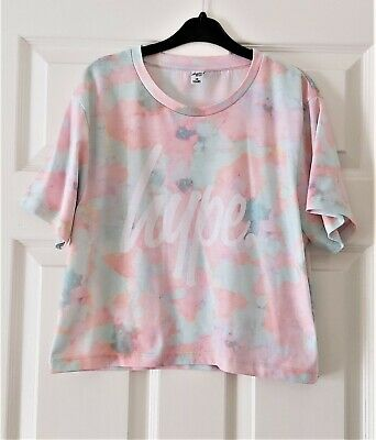 VGC Girls Hype pastel colours tie dye top t-shirt size 14 Years