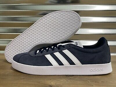 Adidas VL Court 2.0 Skateboarding Shoes Suede Blue White 3 Stripes SZ ( DA9854 )