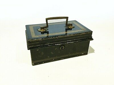 Antique vintage black metal cash tin or moneybox with removable insert