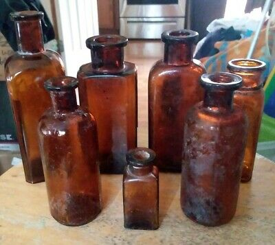 Antique Vintage Lot of 7 Amber Cork Top Medicine/Chemical Bottles