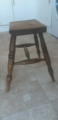 19th Cent Stool with Turned Legs and Stretcher