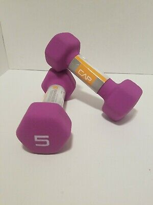 New CAP Hex Neoprene 5 lb Pound Set Pair of 2 Dumbbells Weights Fast Shipping