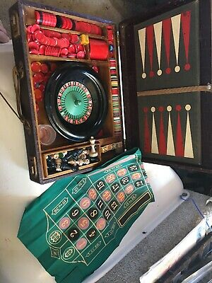 "Vintage ""The All in One""  Portable Roulette Poker & More Game Suitcase"