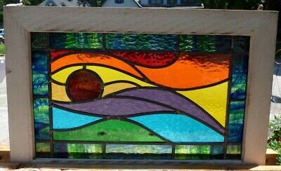 Arts and crafts sunset leaded stained glass window
