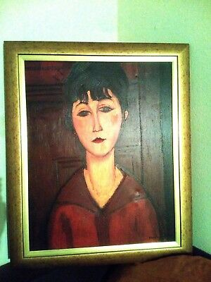 """Large Oil On Canvas Famous Painting """" Young Woman Signed Modigliani 1884-1900"""