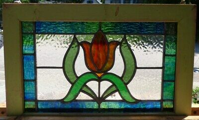 Victorian tulip leaded stained glass window 2