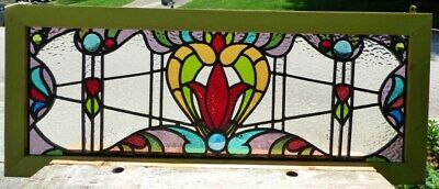 Victorian tulip leaded stained glass window B
