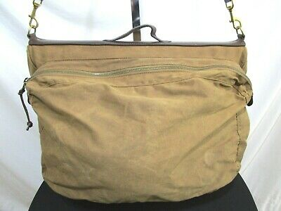 "J.Crew Abingdon Brown Canvas Leather 20"" Carry On Travel Hanging Garment Bag"