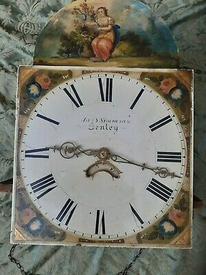 Hand Painted Grandfather Clock Face And Chain Driven Movement  44.5 cms by 30.5