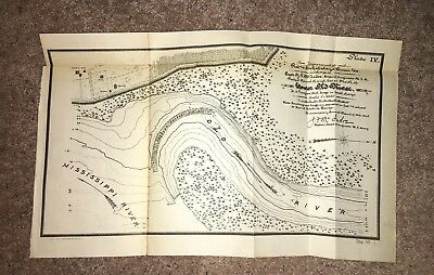 1905 Sketch Map of Mississippi River Old River Dredged Channel School Church LA
