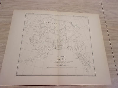 1898 USGS Outline Sketch Map of Alaska showing unexplored areas