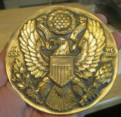 Vintage Bronze Paperweight Desk Item Great Seal Of United States Adopted 1782