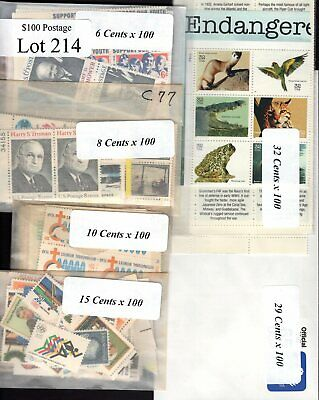 US Postage Below Face, $100 for only $69.95, FREE SHIPPING, Mint stamps  Lot 214
