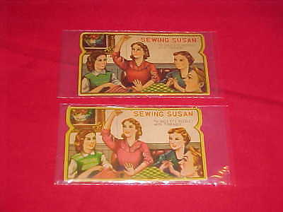 2 Vintage Sewing Susan Gold Eye Needle Packets  (370)