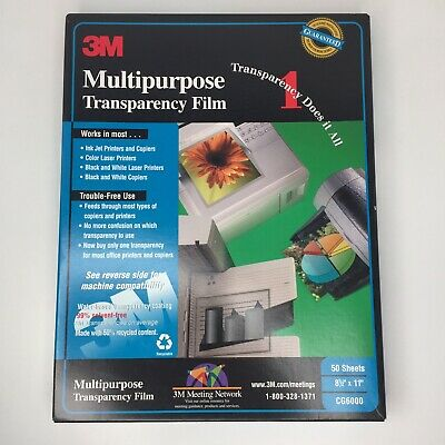3M Multipurpose Transparency Film CG6000, 50 +18 = 68 Sheets Total New Open Box