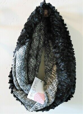 TICKLED PINK Black White Knit & Faux Fur Infinity Scarf Cowl Neck Wrap NEW w/tag