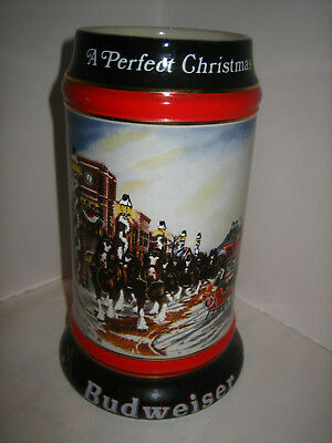 """1992 Budweiser Holiday Stein - Collector's Series -  """"A PERFECT CHRISTMAS"""""""