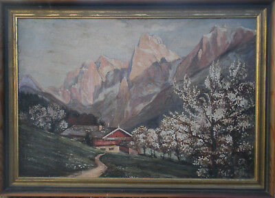 Large Switzerland Mountain Post Impressionist Landscape Oil Painting on Canvas