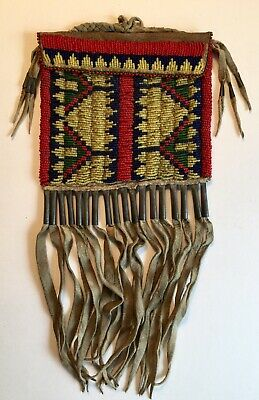 Old Native American Sioux Or Lakota Indian Beaded Bag Flap Pouch Exceptional!