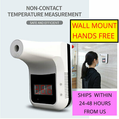 HANDS FREE WALL MOUNT LCD Digital Forehead Infrared Thermometer fast shipping