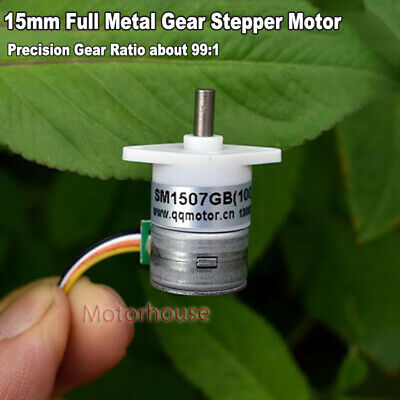 Micro 15mm 2-Phase 4-Wire Gear Stepper Motor Mini Precision Full Metal Gearbox
