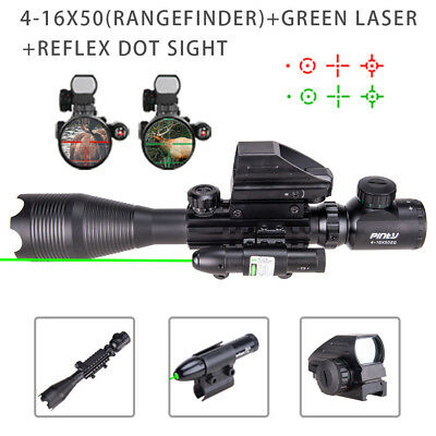 Pinty 3 in 1 4-16x50 Rifle Scope Green Laser &Holographic Reflex Dot Sight Scope