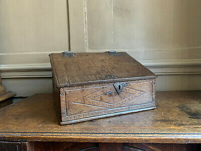 Rare small 17th Century carved & pegged oak box ex Bill Stokes collection