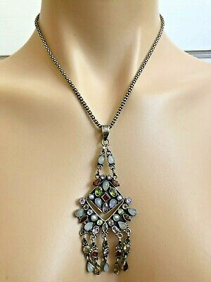 Handmade Sterling Silver India Multi Gemstone Chandelier Pendant Necklace