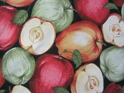 """Cotton Quilting/Craft Fabric """"Nature"""" Red & Green Apples by Timeless Treasures"""