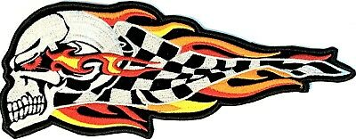 Flame Skull Racing Flag Motorcycle Automobile Car Embroidered Vest Lg Patch Fl-8