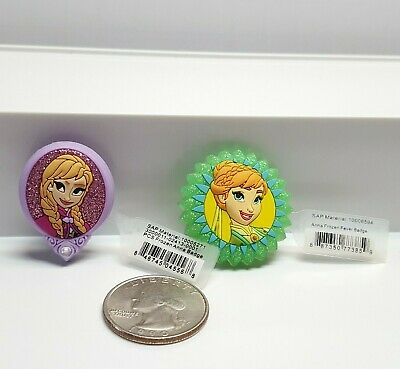 Pair Original Jibbitz Crocs Shoe Charms ANNA Frozen & Frozen Fever Badge w/ Tags