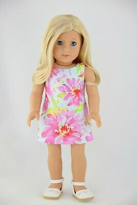 Summer Dress American Made Doll Clothes For 18 Inch Girl Dolls Blue Pink Floral