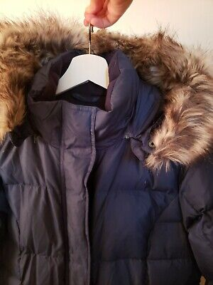 EUC Eddie Bauer Women's Lodge Down Parka Duffle Coat Jacket Long Blue WARM - S