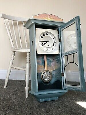 decorative mahogany painted Clock German antique winding clock hanging clock