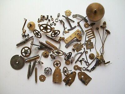 Job lot of vintage clock parts cogs gears etc, steam punk craft spare parts