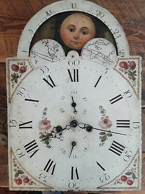 Antique 1800's Tall Case Clock Movement and Wilson hand painted face