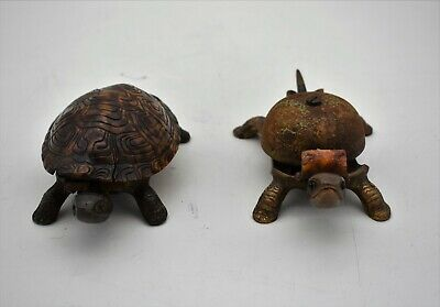 Pair of  novelty cast iron DESK BELLS in the form of  2 TORTOISE. c.1900