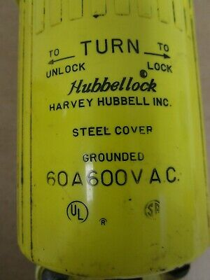 Hubbell Steel Cover Grounded, 60A 600VAC, Female connector