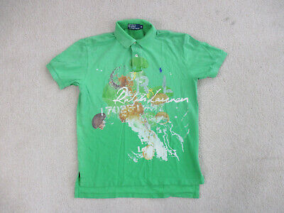 Ralph Lauren Polo Shirt Adult Medium Green Orange Jellyfish Pony Rugby Mens *