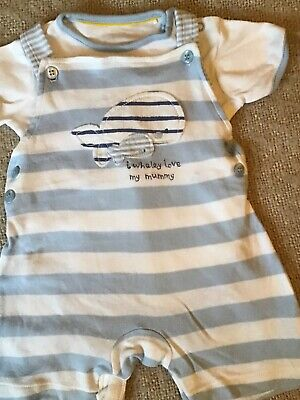 Miniclub baby boy blue & white striped dungaree set age 6-9 months