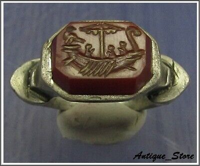 ** GALLEY ** Ancient Silver Legionary Roman Ring ** INTAGLIO **
