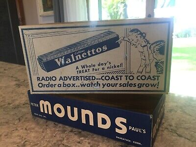 1939-40s VINTAGE Collins Walnettos Candy Bar Box Peter Paul Mounds store display