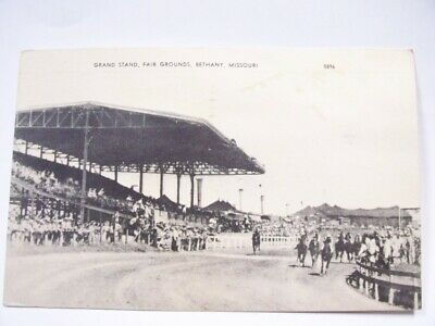 Grand Stand Fair Grounds Bethany Missouri Post Card #5896. Horse Race Track B/W