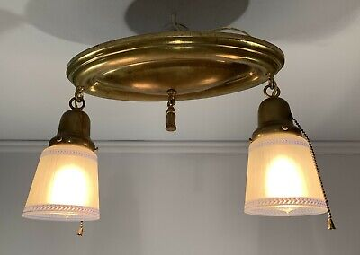 Antique vtg brass oval flush light fixture blue stripe shades rewired